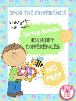 Spot the Difference Kindergarten Math Practice Spring Bundle