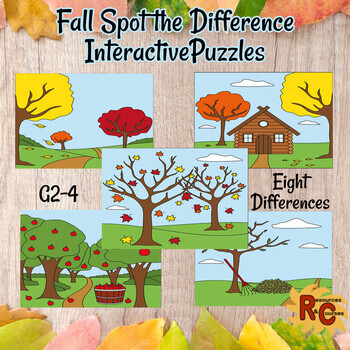 Fall Puzzles Spot the Difference Grade 2-4