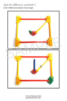Spot the Difference Worksheets using STEM objects