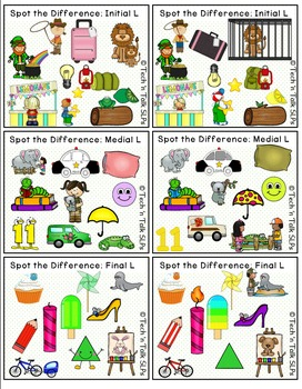 Spot the Difference for Articulation (L & L Blends) & Language
