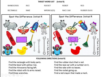 Spot the Difference for Articulation (R & R Blends) & Language