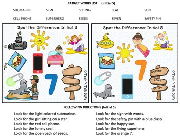 Spot the Difference for Articulation (S & S Blends) & Language