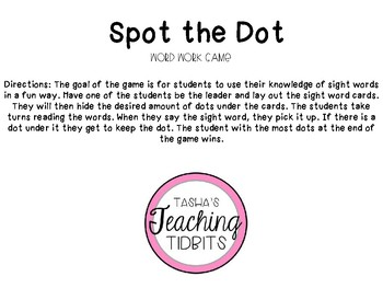 Spot the Dot Word Work Game