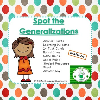 Spot the Generalizations:  A file folder game
