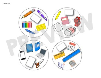 Spot the Match game for Class/School Supply Vocab: Works in ANY Language ESL