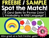 FREEBIE Spot the Match game for Color Vocabulary: Works in ANY Language / ESL