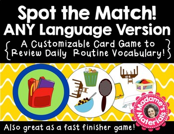 Spot the Match game for Daily Routine Vocabulary: Works in ANY Language / ESL