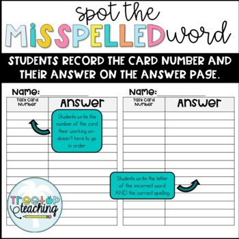 Spot the Misspelled Word- Task Cards