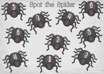 Spot the Spider - a subitizing game