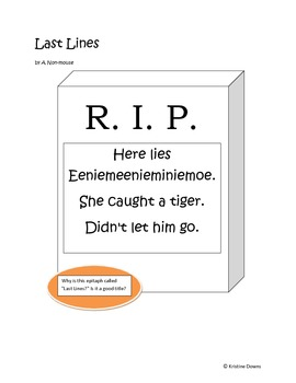 Spotlight Poems for Enriched Student Learning - Last Lines - an epitaph