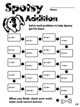 Spotsy Addition - Zeroes - Simple Addition Operations Practice (Grades 1-2)