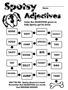 Spotsy Language Arts - Adjectives - (Grades 1-3)