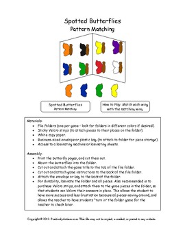 Spotted Butterflies Folder Game