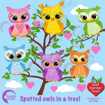Owl clipart, Spotted Owls cliparts, Owls in trees, AMB-286