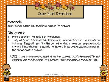 Spotting Colorful Leaves:  NO PREP Fall Themed Bingo Dauber Math Activities