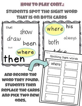Spotting Sight Words: Dolch List!