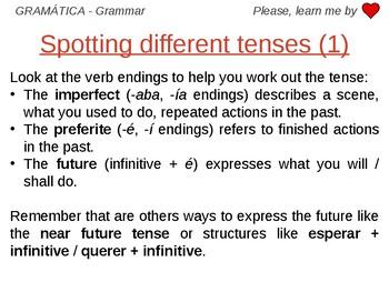 Spotting different tenses - Grammar Work Spanish