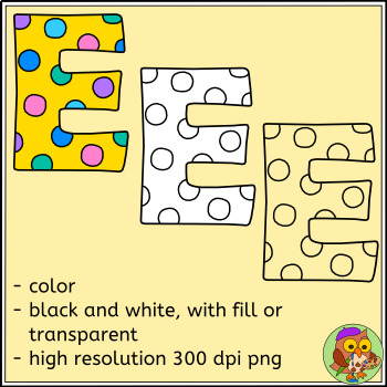 Spotty Alphabet Clip Art – Upper and Lowercase Letters, Punctuation, Accents