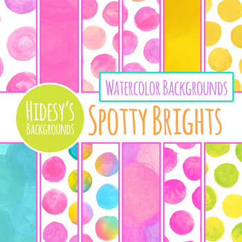 Spotty Brights Handpainted Watercolor Dots Backgrounds / Digital Papers
