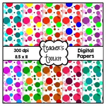 Spotty Digital Background Papers {8.5 x 11} Clip Art CU OK