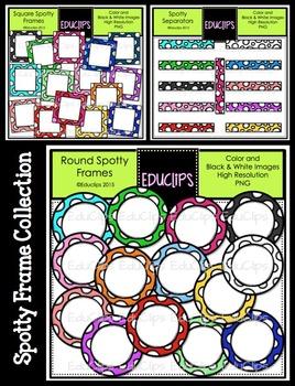 Spotty Frames Clip Art Bundle {Educlips Clipart}