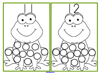 Frogs Counting to 15 Center Using Bingo Dot Markers or Stickers