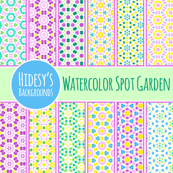 Spotty Watercolor Garden Backgrounds / Digital Papers Clip Art Commercial Use