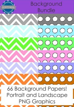 Spotty and Chevron Background Papers Bundle- Personal and