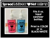 Spread Kindness Not Germs Hand Sanitizer Labels