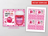 Spread Love not Germs, Hand Sanitizer Holder, Valentine School Exchange Ideas