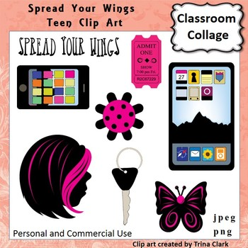 Spread Your Wings Teenager Clip Art - Color - personal & c