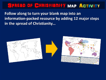 Spread of Christianity Map Activity: 27 follow-along slides & blank map handout