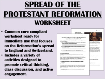 Spread of the Protestant Reformation - Global/World History Common Core