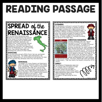 Spread of the Renaissance Reading Comprehension