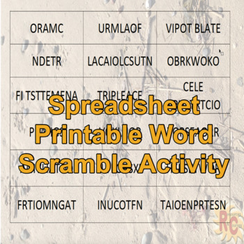 Spreadsheet Dominoes & Word Scramble Intermediate/Advanced