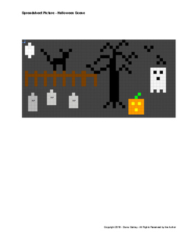 Spreadsheet Drawing - Halloween Scene