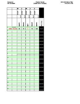Spreadsheet Gradebook for 2014-15