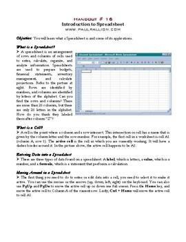 Spreadsheet Handout Series