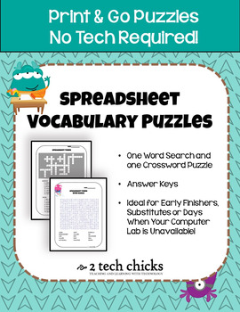 Spreadsheet Vocabulary Terms Puzzles