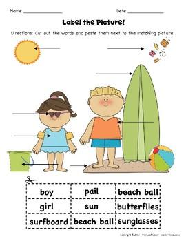 Summer Label a Picture! - Great for ESL/ENL, Pre-K, Kindergarten & Special Needs