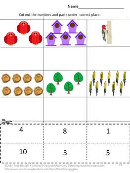 Spring Birds Cut and Paste Math and Literacy Packet Early finishers, Centers