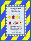 Birds Theme, Spring Math and Literacy Worksheets, Cut and Paste Activities