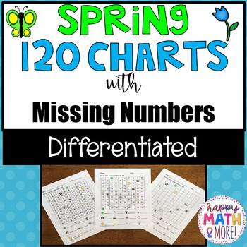 Spring 120 Charts with Missing Numbers Differentiated