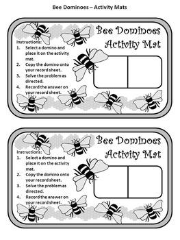 Summer Activities: Bee Dominoes Spring-Summer Math Activity Packet