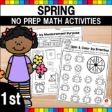 Spring 1st Grade Math No Prep Worksheets