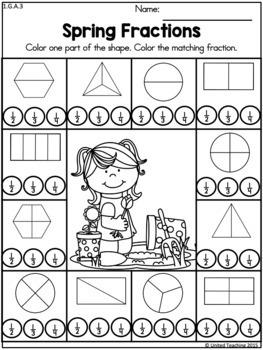 Spring 1st Grade Math No Prep Worksheets