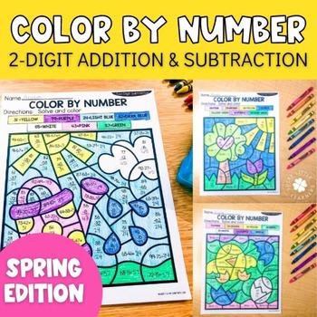 spring 2 digit addition and subtraction color by number no prep printables. Black Bedroom Furniture Sets. Home Design Ideas