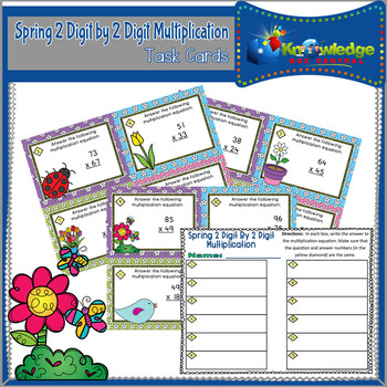 Spring 2 Digit By 2 Digit Multiplication Task Cards With Response Sheet