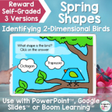 Spring 2-Dimensional Bird Shapes Google and PowerPoint Digital Game
