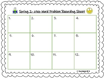 Spring 2-Step Word Problem Task Cards